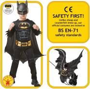 Rubie's 3300002 Black Core Batman Deluxe - Child Kostüm, schwarz, L