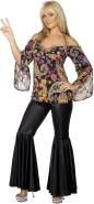 Hippie Kostüm Damen mit gemustertem Oberteil und Schlaghose, X-Large