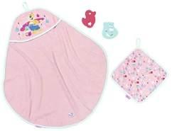 BABY born Bath Kapuzenhandtuch & Schwamm Puppenzubehör 4-teilig, rosa
