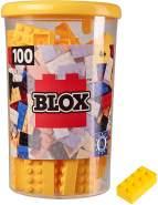 Simba 104118898, Blox, 100 gelbe Bausteine für Kinder ab 3 Jahren, 8er Steine, inklusive Dose, hohe Qualität, vollkompatibel mit vielen anderen Herstellern