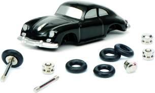 Schuco 450559800 - Piccolo Montagekasten Porsche 356 Coupé, Modellauto, 1:90, Retro Verpackung, schwarz
