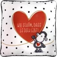 Sheepworld 46224 kleines Plüschkissen mit Motivdruck 'Wie schön dass es dich gibt', 25 cm x 25 cm, mehrfarbig