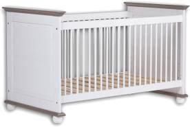 Stella Trading LAURA Sicheres Babybett mit 70 x 140 cm Liegefläche - Schönes Baby Gitterbett für einen geborgenen Schlaf in Kiefer massiv, weiß / lava - 85 x 93 x 154 cm (B/H/T)