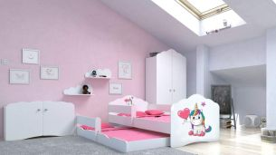 Angelbeds 'Fala' Kinderbett 80x160 cm, Motiv E1, inkl. Flex-Lattenrost, Schaummatratze und Schubbett