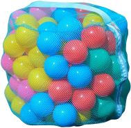 Idena 40117 Bälleset für Spielzelt oder Bällebad, 100 Bälle aus Kunststoff im Netz, in 5 Farben blau, rot, gelb, grün, pink, je 6 cm Durchmesser, bunt, 100 Kunststoffbälle