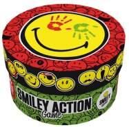 GAMEFACTORY 76134 Smiley Action Game, das Bunte Spiel mit dem Big Smile, Familienspiel für 2 bis 4 Personen