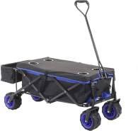 Faltbarer Bollerwagen HWC-E62, Handwagen, Geländereifen klappbar ~ mit Hecktasche/Abdeckung schwarz/blau