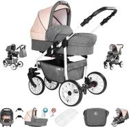 Friedrich Hugo Berlin | 3 in 1 Kombi Kinderwagen Komplettset | GEL Reifen | Farbe: Grey and Beige Day
