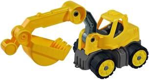 BIG - Power-Worker Mini Bagger - Baggerfahrzeug geeignet als Sandspielzeug und für das Kinderzimmer, Reifen aus Softmaterial, perfekt für unterwegs, für Kinder ab 2 Jahren
