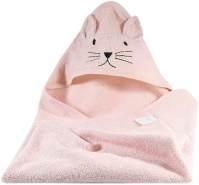 Kindsgut Kapuzenhandtuch, Tier-Handtuch Katze rosa
