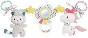Fehn Aiko & Yuki Kinderwagenkette mit Rassel und Spiegel Einhorn & Katze