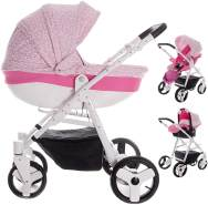 Friedrich Hugo Easy Comfort | 3 in 1 Kombi Kinderwagen Komplettset | Farbe: Rose & Leo Fabric