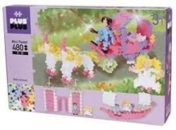 Plus-Plus 9603771 Geniales Konstruktionsspielzeug, Pastel Prinzessinnentraum, Mini Basic, 3-in-1 Bausteine-Set, 480 Teile