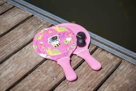 Sunflex Jerseyprene Beachball Set Youngster Birds&Bees mit Zwei Schlägern und Zwei Bällen|kleinere Schlagfläche und kleinerer Griff für Kinder|weich und leicht|extrem robust und wasserfest
