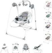 Lorelli Babywippe elektrisch Tango 2 in 1, Fernbedienung, MP3, Timer, Mobile grau hellgrau
