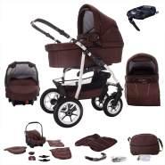Bebebi Bellami | ISOFIX Basis & Autositz | 4 in 1 Kombi Kinderwagen | Hartgummireifen | Farbe: Bellachoco