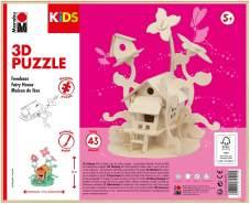 Marabu 317000000010 - KiDS 3D Holzpuzzle Feenhaus, mit 43 Puzzleteilen aus FSC-zertifiziertem Holz, ca. 21 x 23 cm groß, einfache Stecktechnik, zum individuellen Bemalen und Gestalten