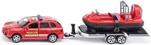 SIKU 2549, PKW mit Anhänger und Hovercraft, Rettungsdienst, 1:55, Metall/Kunststoff, Rot, Schwimmfähiger Hovercraft