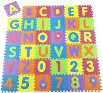 Juskys Kinder Puzzlematte Kim 36 Teile mit Buchstaben A-Z & Zahlen 0-9 | rutschfest & abwischbar | Puzzle ab 10 Monate | Eva Schaumstoff | Kinderteppich
