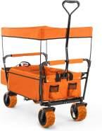 'The Blue Supreme' Bollerwagen Handwagen faltbar 68kg Sonnendach Orange