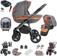 Friedrich Hugo Greyline | 4 in 1 Kombi Kinderwagen | Luftreifen | ISOFIX Basis & Autositz | Farbe: Orange