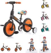 Chipolino Dreirad, Laufrad 2 in 1, Max Bike, 10 Zoll Räder, Pedale, Stützräder, Farbe:orange