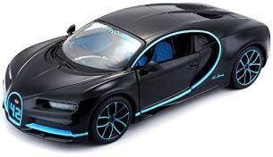 Maisto Bugatti Chiron: Originalgetreues Modellauto im Maßstab 1:24, bewegliche Türen, 19 cm, grau (531514BK)