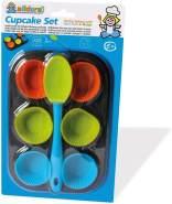 alldoro 61517 - Cupcake Set, 8 teiliges Muffin Förmchen Backset, 6 hitzebeständige Silikon Muffinformen und Muffinblech aus Metall, Backformen für Cupcakes mit Silikonlöffel, für Kinder ab 5 Jahren