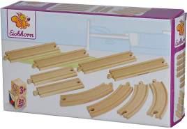 Eichhorn - Bahn, Schienensortiment groß - Schienenbahn aus FSC zertifiziertem Buchenholz, 10 teiliges Set aus 4 Kurvenschienen, 2 langen und 2 kurzen Schienen, für Kinder ab 3 Jahren