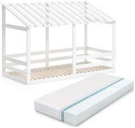 VitaliSpa 'Silvia' Hausbett, Weiß, 90x200cm, Massivholz Buche, inkl. Matratze, Lattenrost und Rausfallschutz