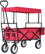 Juskys Bollerwagen Rot, faltbar mit Dach und Tasche, Gummirädern, bis 80 kg belastbar