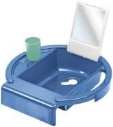 Rotho Babydesign Kinderwaschbecken Kiddy Wash, Zum Anbringen am Badewannenrand, 38,7 x 38,2 x 10 cm, Cool Blue (Blau),20034 0315 01