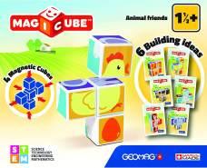 Geomag 132 Magicube Animal Friends - 4 Magnetwürfel für Konstruktionen, Baukasten Lernspielzeug