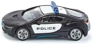 SIKU 1533, BMW i8 US-Polizeiauto, Metall/Kunststoff, Schwarz/Weiß, Vielseitig einsetzbar, Spielzeugfahrzeug für Kinder