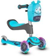 Scooter by smarTrike T1 Kinderscooter mit Sitz, Leuchträder und Snacktasche Scooter - Kinderroller, blau mit LED-Rädern und Zubehörtasche, S