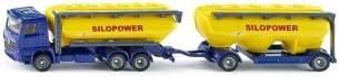 SIKU 1809, LKW mit Futtermittelsilo, 1:87, Metall/Kunststoff, Blau/Gelb, Viele Funktionen