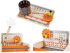 Hape E3029 – Tüftler Werkzeugkasten, MINT-Spielzeug, Experimentierset, Junior Inventor - Erfinden und Experimentieren