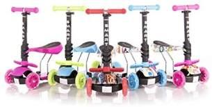 Lorelli Kinderroller Laufrad 2 in 1 Smart PU Räder leuchten klappbar verstellbar, Farbe:blau