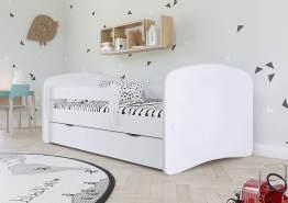 Kocot Kids Einzelbett weiß 70x140 cm inkl. Rausfallschutz, Schublade und Lattenrost