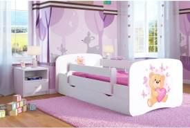 Kocot Kids 'teddybär mit Schmetterlingen' Einzelbett weiß 80x180 cm inkl. Rausfallschutz, Matratze, Schublade und Lattenrost