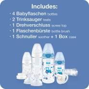 NUK First Choice+ Perfect Start Babyflaschen Set   Erstausstattung mit 4 Temperature Control Anti-kolic Babyflaschen (2x 150ml & 2x 300ml), Flaschenbürste & mehr   BPA-frei   0-6 Monate   blau/weiß