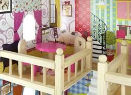 Bino großes Puppenhaus aus Holz, Kinderzimmer Zubehör, Spielzeug für Kinder ab 3 Jahren (Kinderspielzeug, möblierte Villa mit lebensnaher Dekoration, 17 Teile, 3 Spielebenen), Mehrfarbig
