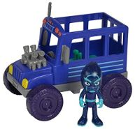 Simba 109402228 - PJ Masks Ninja mit Bus / mit Bösewicht Nacht Ninja / mit Action Figur / blau/ Fahrzeug 15cm groß / Figur 8cm groß, für Kinder ab 3 Jahren