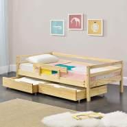 en.casa Kinderbett aus Kiefernholz mit 2 Bettkasten, Rausfallschutz und Lattenrost 200x90 cm, natur