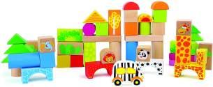 Holzbausteine 'Zoo' aus Holz, FSC® 100%-zertifiziert, 50-tlg. Set mit bunt bedruckten Bauklötzen, schult die Motorik und das räumliche Denken des Kindes, für kleine Bau-Meister ab 12 Monate
