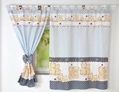 BabyLux 'Teddybären' Vorhänge mit Schlaufen, grau