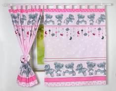 BabyLux 'Bäre' Vorhänge mit Schlaufen, pink