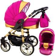 Tabbi ECO X GOLD | 2 in 1 Kombi Kinderwagen | Hartgummireifen | Farbe: Pink