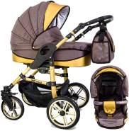 Tabbi ECO X GOLD | 2 in 1 Kombi Kinderwagen | Luftreifen | Farbe: Brown