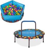 smarTrike Indoor-Kleinkind-Trampolin mit Griff, inklusive Bällebecken mit 100 Bällen, faltbares Kindertrampolin, 1-5 Jahre
